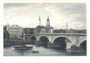 Lontoon silta, London Bridge, 1825 vuodesta eteenpäin.