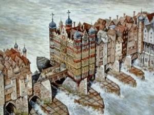 Keskiaikainen Lontoon silta. Siltaa ei enää ole.